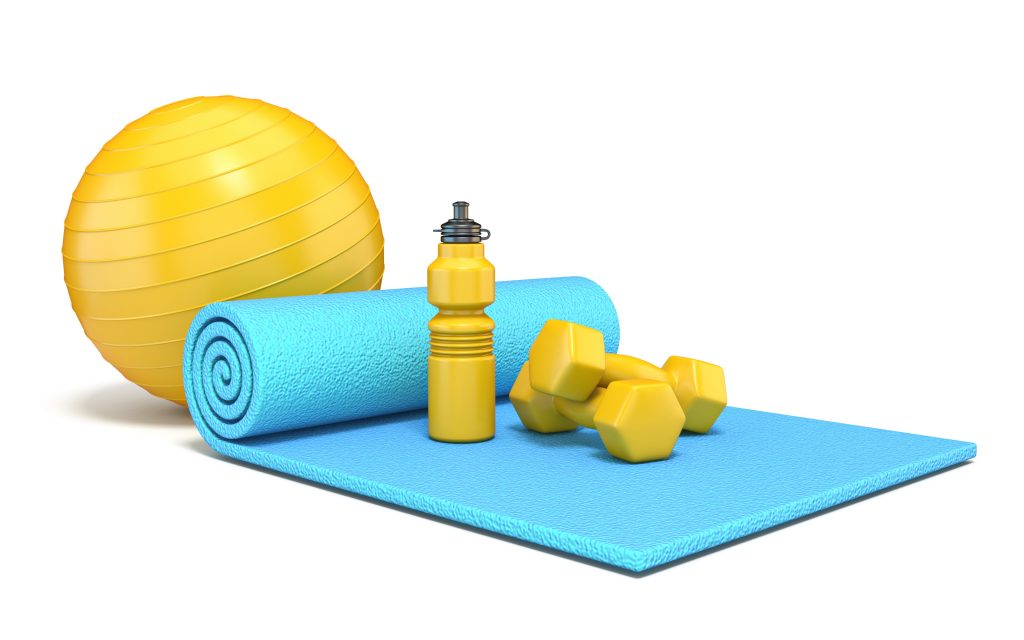 Exercise mat with weights, fitness ball and water bottle 3D